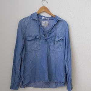 Abercrombie & Fitch pocket front chambray lace up